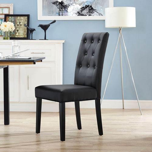 Modway Furniture Confer Dining Vinyl Side Chair in Black