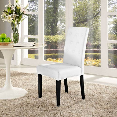 Modway Furniture Confer Dining Vinyl Side Chair in White