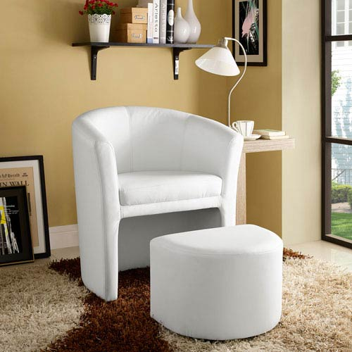 Divulge Armchair and Ottoman in White