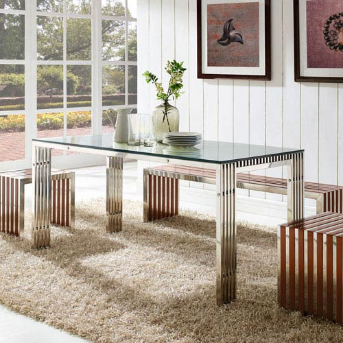 Modway Furniture Gridiron Stainless Steel Dining Table in Silver