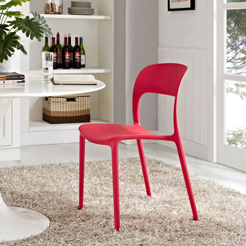 Modway Furniture Hop Dining Side Chair in Red