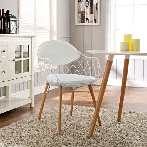 Basket Dining Metal Armchair in White