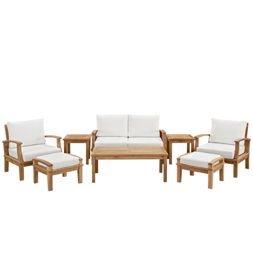 Marina 8 Piece Outdoor Patio Teak Sofa Set in Natural White