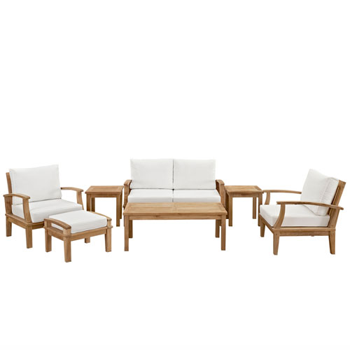 Modway Furniture Marina 7 Piece Outdoor Patio Teak Sofa Set in Natural White