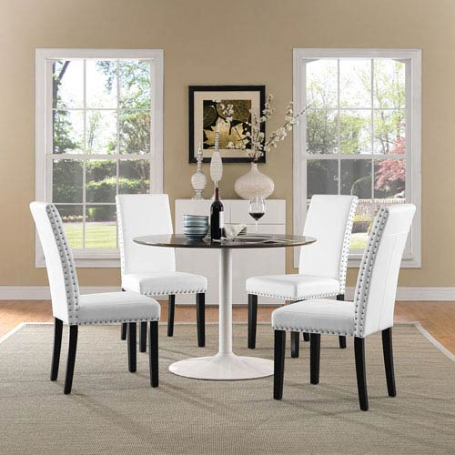 Modway Furniture Parcel Dining Vinyl Side Chair in White