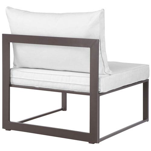 Modway Furniture Fortuna Armless Outdoor Patio Sofa in Brown White