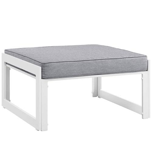Fortuna White and Gray Outdoor Patio Ottoman