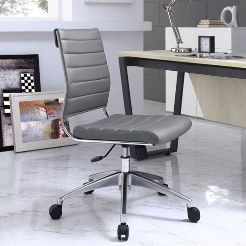Modway Furniture Jive Armless Mid Back Office Chair in Gray