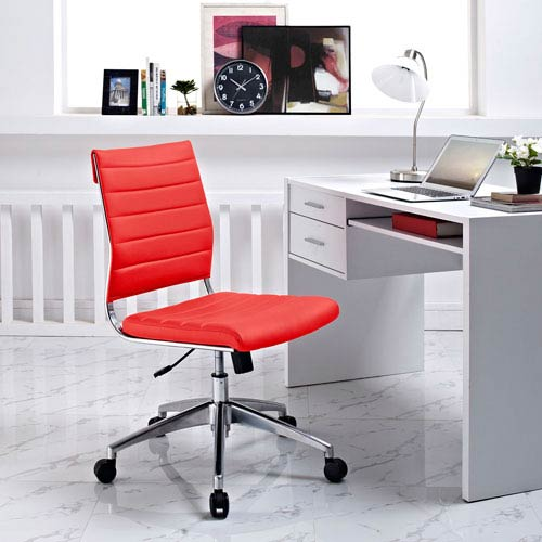 Modway Furniture Jive Armless Mid Back Office Chair in Red