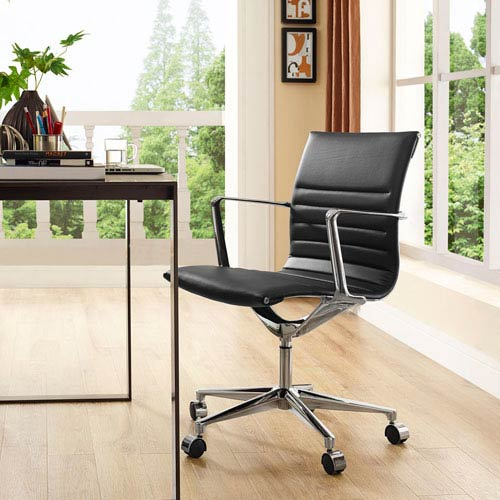 Modway Furniture Vi Mid Back Office Chair in Black