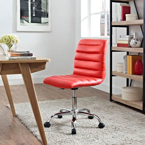 Modway Furniture Ripple Armless Mid Back Office Chair in Red