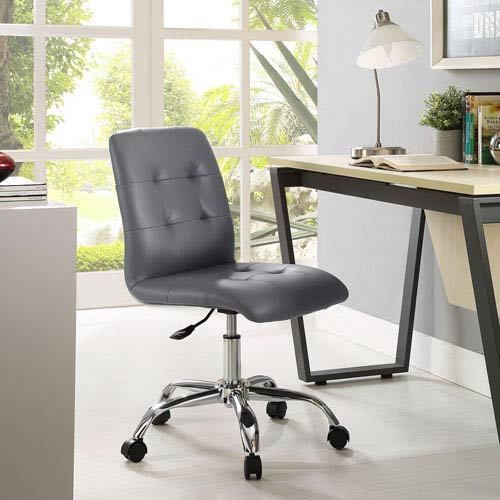Modway Furniture Prim Armless Mid Back Office Chair in Gray