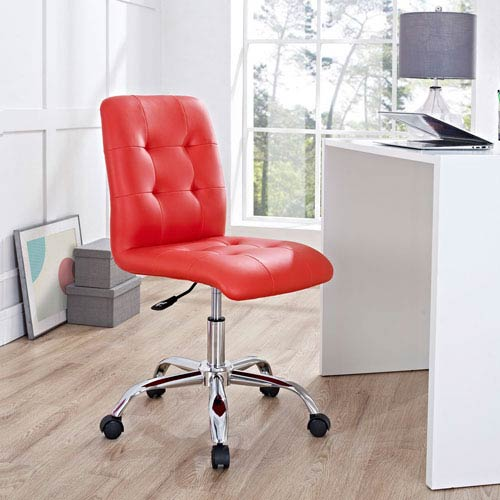 Modway Furniture Prim Armless Mid Back Office Chair in Red