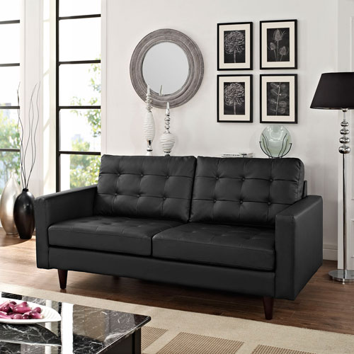 Modway Furniture Empress Bonded Leather Loveseat in Black
