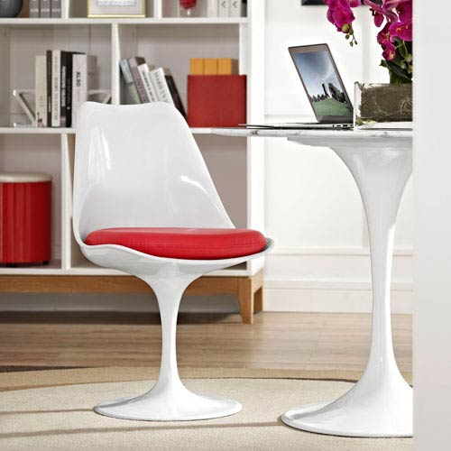 Lippa Dining Vinyl Side Chair in Red