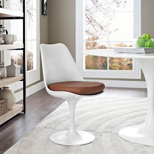 Lippa Dining Vinyl Side Chair in Tan