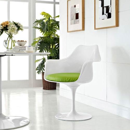 Lippa Dining Vinyl Armchair in Green