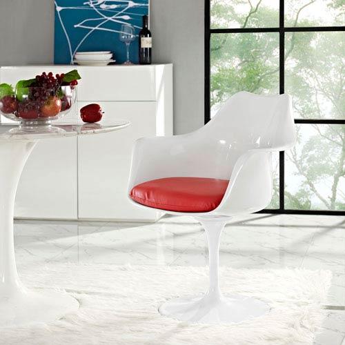 Lippa Dining Vinyl Armchair in Red