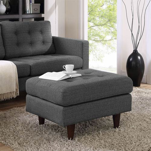 Modway Furniture Empress Upholstered Ottoman in Gray
