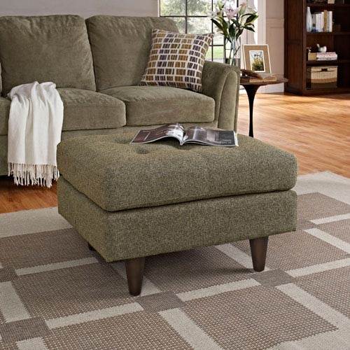 Empress Upholstered Ottoman in Oatmeal
