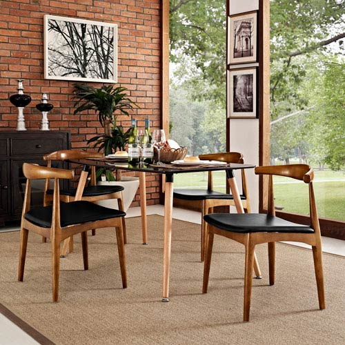Modway Furniture Tracy Dining Chairs Set of 4 in Black