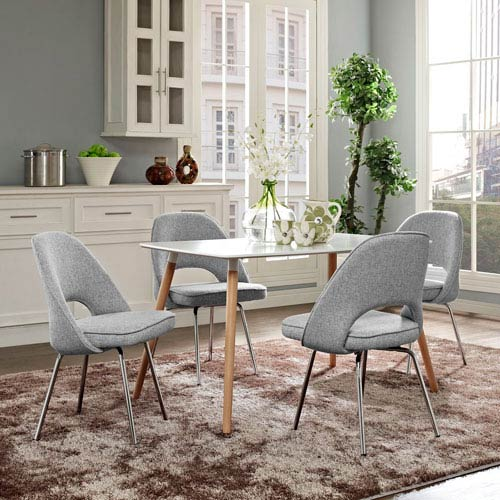 Modway Furniture Cordelia Dining Chairs Set of 4 in Light Gray