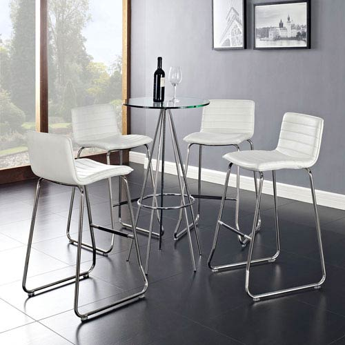 Dive Bar Stool Set of 4 in White