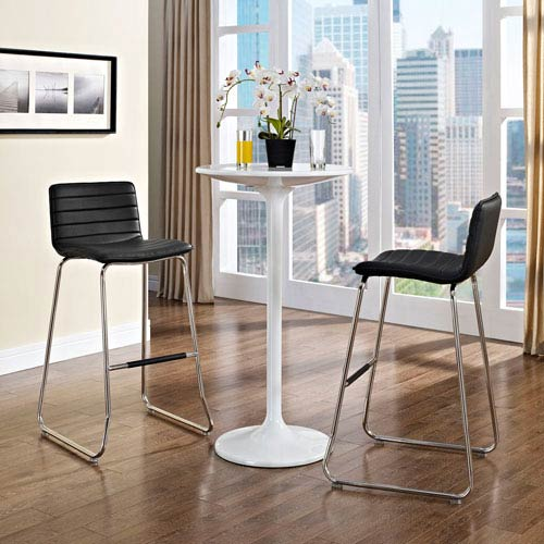 Modway Furniture Dive Bar Stool Set of 2 in Black