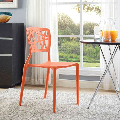 Modway Furniture Astro Dining Side Chair In Orange