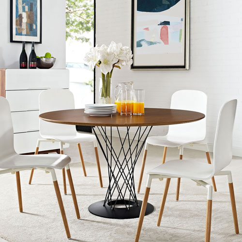 Modway Furniture Cyclone Wood Top Dining Table in Walnut