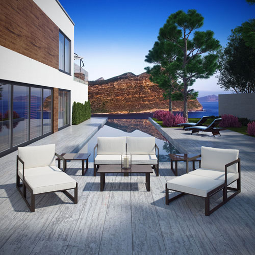 Modway Furniture Fortuna 9 Piece Outdoor Patio Sectional Sofa Set in Brown White