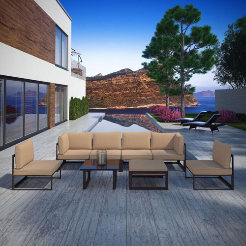 Modway Furniture Fortuna 8 Piece Outdoor Patio Sectional Sofa Set in Brown Mocha