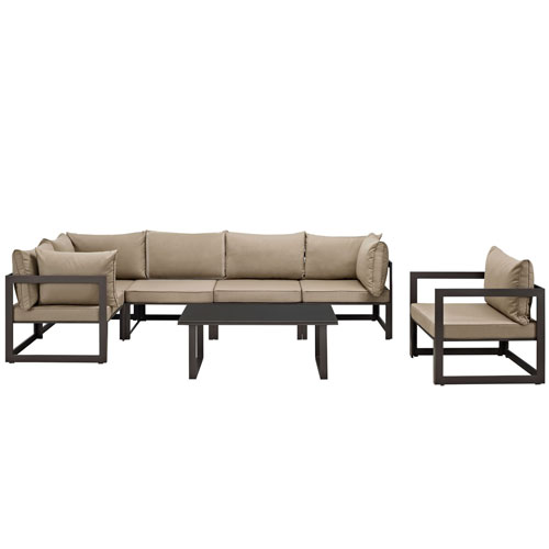 Fortuna 7 Piece Brown and Mocha Outdoor Patio Sectional Sofa Set