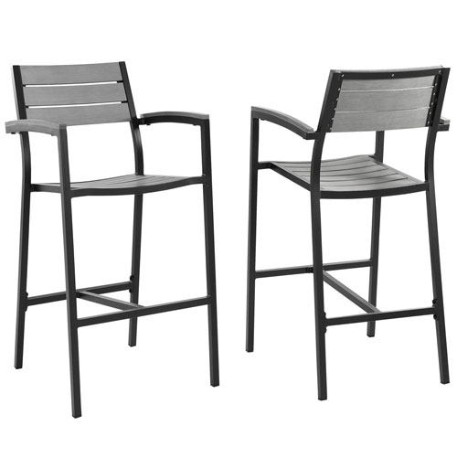 Maine Bar Stool Brown and Gray Outdoor Patio, Set of 2