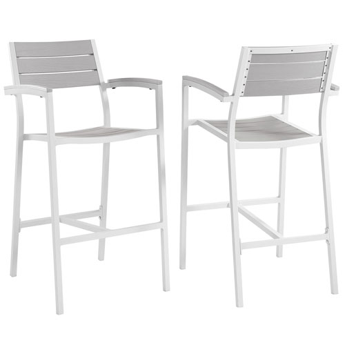 Modway Furniture Maine Bar Stool Outdoor Patio Set of 2 in White Light Gray