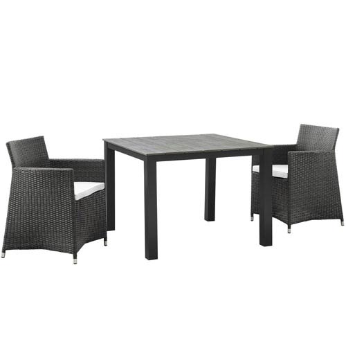 Junction 3 Piece Outdoor Patio Wicker Dining Set in Brown White