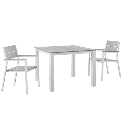 Maine 3 Piece White and Gray Outdoor Patio Dining Set