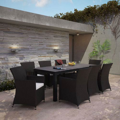 Modway Furniture Junction 9 Piece Outdoor Patio Dining Set in Brown White