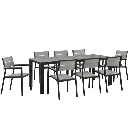 Maine 9 Piece Brown and Gray Outdoor Patio Dining Set