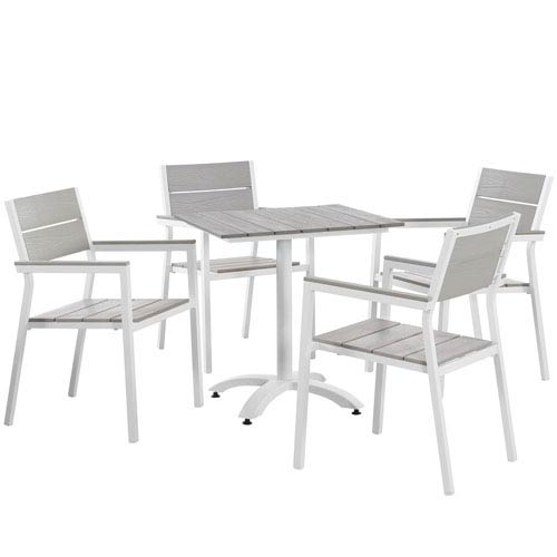 Maine 5 Piece White and Gray Outdoor Patio Dining Set
