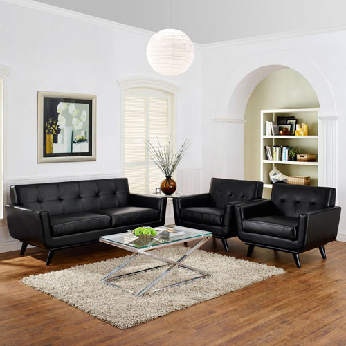 Modway Furniture Engage 3 Piece Leather Living Room Set in Black