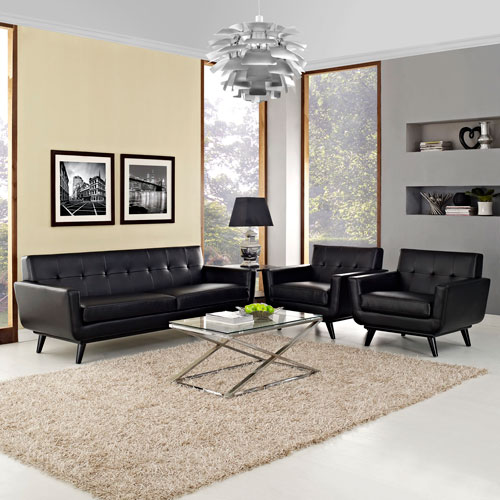 Engage 3 Piece Leather Living Room Set in Black