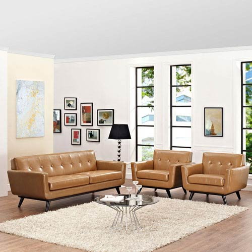 Modway Furniture Engage 3 Piece Leather Living Room Set in Tan