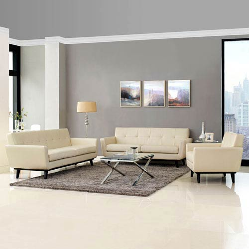 Modway Furniture Engage 3 Piece Leather Living Room Set in Beige