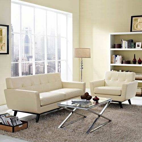 Modway Furniture Engage 2 Piece Leather Living Room Set in Beige