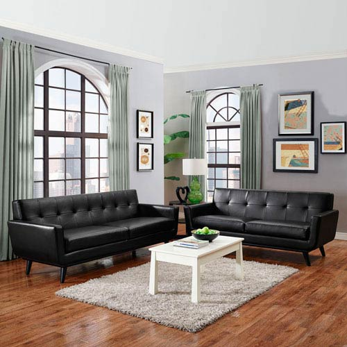 Engage 2 Piece Leather Living Room Set in Black