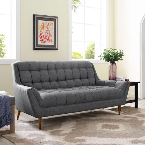 Modway Furniture Response Fabric Loveseat in Gray