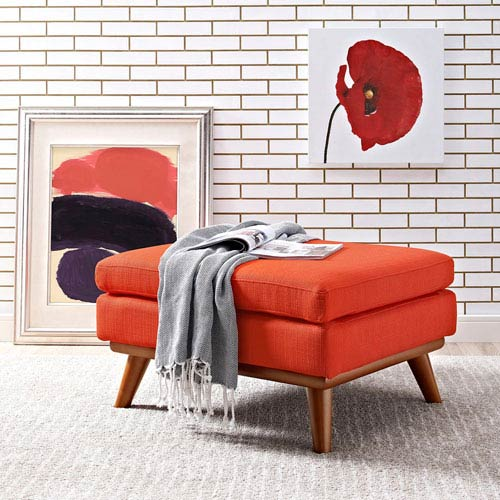 Modway Furniture Engage Fabric Ottoman in Atomic Red