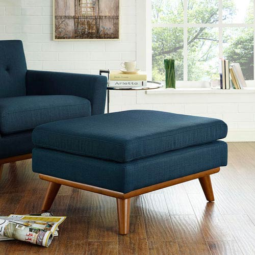 Modway Furniture Engage Fabric Ottoman in Azure