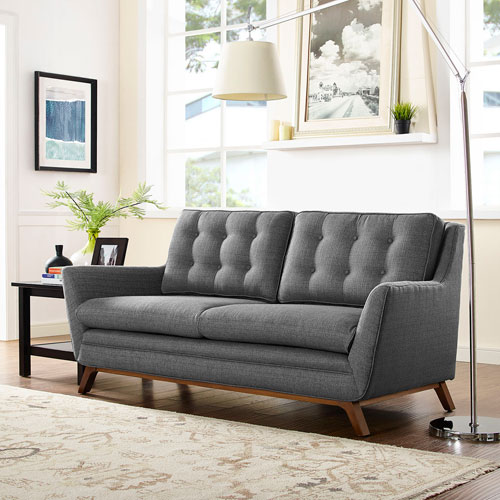 Modway Furniture Beguile Fabric Loveseat in Gray
